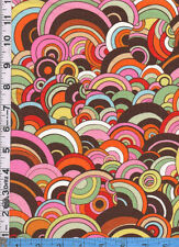 Fabric Henry RIVOLI BUBBLE ART DECO CIRCLES pink orange yellow green brown BTHY