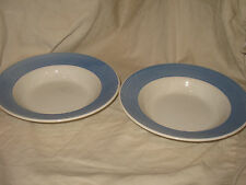 A Step Beyond Rimmed Soup Salad Bowl White w Blue Edge Made in Italy Set of 2!