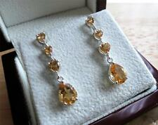 FINE 925 STERLING SILVER YELLOW CITRINE DROP DANGLE BUTTERFLY EARRINGS