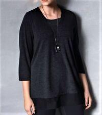 NEW w/TAGS- Ulla Popken®  Women's Plus Size Black Tunic Top - Plus Size 28/30