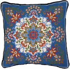 "Candamar Designs 30948 Kaleidoscope Style Needle Point Kit 14"" x 14"" Blue Pillow"