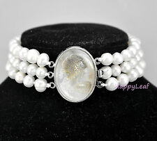@WOW@7-8mm Freshwater Pearl 3 Row Bracelet with Mother of Pearl Victorian Cameo