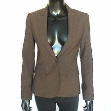 Theory Womens One Button Brown Wool Blazer Size 2 Designer Suit Jacket Size XS S