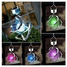 Solar 7 Colors Changing Wind Chime Courtyard Hanging Moving Rotating LED Light