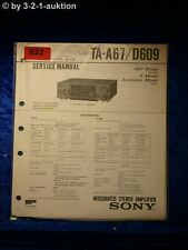 Sony Service Manual TA A67 / D609 Amplifier  (#0822)