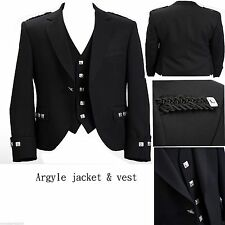 "Argyle Black Kilt Jacket With Waistcoat/Vest Handmade - Sizes 36""- 54"""
