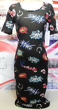 ALMOST FAMOUS WOMENS DRESS COMIC CARTOON POP JUNIOR SIZE LARGE CASUAL