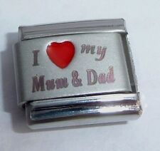 I LOVE MY MUM & DAD 9mm Italian Charm RED HEART N267 - fits Classic Bracelets