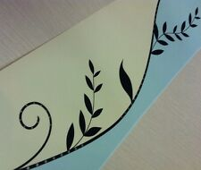 Black Leaf - Cream - Jade / Mint Wallpaper Border Free P&P