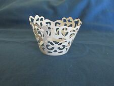 24 WHITE Filigree Lace CUPCAKE WRAPPERS COLLARS wedding FREE S/H shower table
