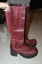JEFFREY CAMPBELL RED BURGUNDY BUCKLED VING BOOTS SIZE 8