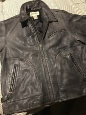 Eddie Bauer Gray Distressed Leather Bomber Jacket Full Zip Men's Large