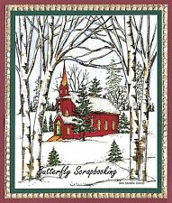 CHRISTMAS WINTER CHURCH Scene Wood Mounted Rubber Stamp NORTHWOODS P9912 New