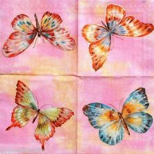 iHR Four (4) Single Cocktail Beverage Paper  Decoupage Napkins - Papillon Pink
