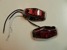 (2) Red LED Truck Trailer Light 2 Diode 1x2.5 Clearance marker CHROME Bezels