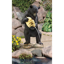 Water fountain Black Bear Holding Beehive Piped Statue Pond Sculpture Statue NEW