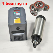 TOP FOUR BEARING 1.5KW ER16 AIR COOLED SPINDLE MOTOR +1.5kW INVERTER DRIVE VFD