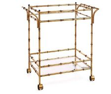 Hollywood Regency Gold Iron Bamboo Bar Tea Rollng Cart Table Chinese Chippendale