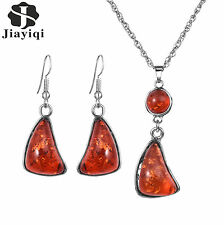Women Vintage Turkish Jewelry Set Natural Stone Resin Pendants Earrings Necklace