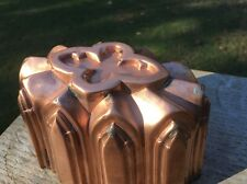 """Victorian 6.5"""" Antique Gothic Copper Jelly Cake Dessert Mold Tin Lined"""