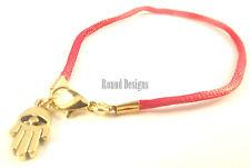 Khamsa Rouge Corde Bracelet Mauvais Oeil Kabbale Argent Main De Fatima Charme Or