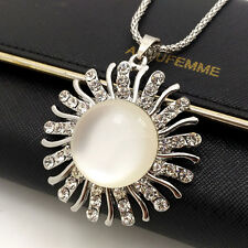 Wholesale Silver sun Crystal Sweater chain Charm necklace Pendants XL606