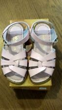 New Sun-San Salt Water Sandals,original style,shiny pink leather, child 12,NIB