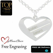 Heart of Love Personalised Necklace Up To 2 Names Engraved Silver Jewellery Gift