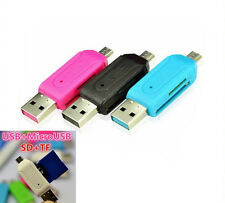 USB 2.0+Micro USB OTG Adapter SD T-Flash Memory Card Reader for Smart Phone PC