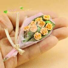 1/12 Dollhouse Miniature Clay bouquet Chinese rose Romantic valentine's day gift