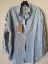 NEW BURBERRY BRIT WOMEN'S CHECK COLLAR COTTON BLUE BLOUSE TUNIC SHIRT TOP
