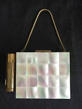 Vintage Mother of Pearl Purse Style Compact With Lipstick Case