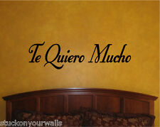 Te Quiero Mucho-I Love You Much (Alot) Spanish Phrase Wall Decal Sticker