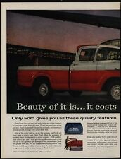 1958 FORD STYLESIDE Custom Cab Pickup Truck 2 Page VINTAGE AD