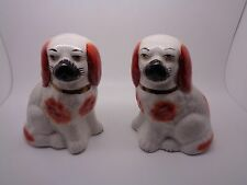 PAIR VINTAGE SPANIEL DOGS STAFFORDSHIRE  MINATURE SIZED COLLECTABLE ORNAMENTS