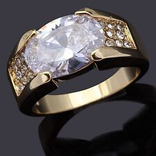 Mens Size 9 Princess Cut White Sapphire 18K Gold Filled Engagement Wedding Ring