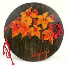 Vintage Pokerwork Doiley Press Red Flowers Doyley Retro Wooden Linen Doyleys