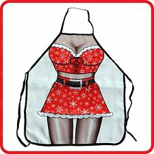 APRON-ATTITUDE FUNNY-SEXY SNOWFLAKE CHRISTMAS SANTA LADY WOMAN-COOKING-COSTUME
