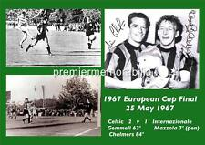 CELTIC FC 1967 EUROPEAN CUP FINAL LISBON LIONS GEMMELL CHALMERS SIGNED (PRINTED)