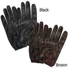 Isotoner A45011 Men's Leather Unlined Driving Gloves Brown XL