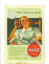 "Original Vintage 1940 Coca Cola Print Ad 10 x 6 7/8 Titled ""Take a Minute...."