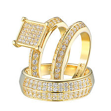 Trio His & Her Ring Set Wedding Engagement Set Gold Tone Sterling Silver 925