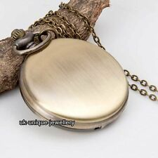Rare Bronze Pocket Watch Necklace Chain Xmas Gift For Her Him Men Husband Women