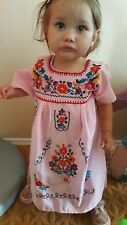 Mexican Dress Girls Embroidered Pink flowered Peasant boho chic toddler 2T-3T
