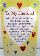 "HEARTWARMER KEEPSAKE MESSAGE CARD ""TO MY HUSBAND"" LOVE POEM FOR VALENTINE'S DAY"