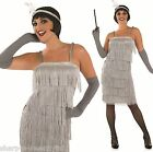 Ladies Silver 1920s Gatsby Flapper Fancy Dress Costume Outfit UK 8-30 Plus Size