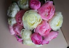 Large Artificial tied bunch of Pink & Cream Ranunculus flowers.20 Flower heads
