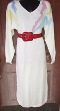 Vtg 80s Kei Fairy Kawaii Slouch Oversize Pastel Pink Blue Sweater Dress S