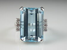 14K Aquamarine Diamond Ring 15.61ctw Emerald Cut White Gold Genuine Size 7 $7500