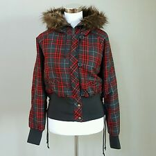 FINESSE Woman Red Gray Plaid Hooded Jacket Coat 2XL Faux Fur NEW WITH TAG